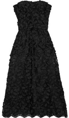 Dolce & Gabbana Strapless Floral-appliqued Tulle Midi Dress