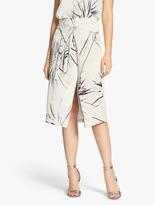 Halston Printed Silk Wrap Skirt