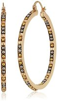 Steve Madden SME463569GDRH Beaded Hoop Gold Drop Earrings