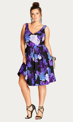 City Chic Hydrangea Printed Fit & Flare Dress