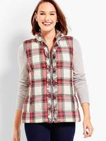 Talbots Ruffle-Front Puffer Vest - Plaid