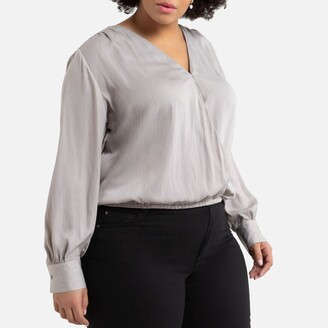 La Redoute Collections Plus Long-Sleeved Wrapover Blouse