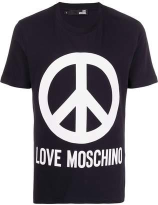 Love Moschino Peace logo print T-shirt