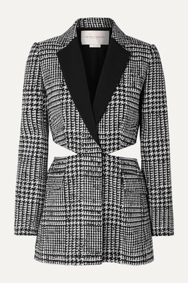 Carolina Herrera Cutout Crepe-trimmed Prince Of Wales Checked Wool And Silk-blend Blazer - Black