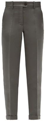 Zanini - Tailored Cropped Silk-faille Trousers - Grey