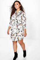 Boohoo Plus Amie Floral Satin Shirt Dress