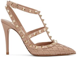 Valentino Pink Garavani Rockstud Ankle Strap Heels