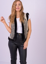 Missy Empire Sharla Black Faux Fur Trim Gilet