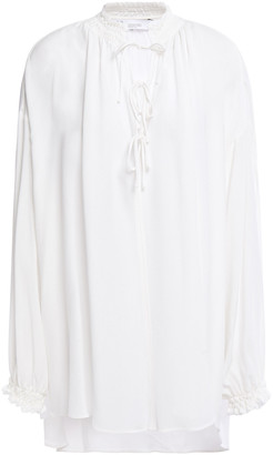 IRO Bow-detailed Shirred Twill Blouse