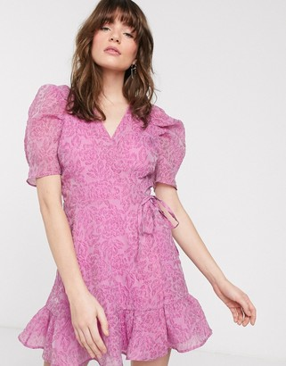 And other stories & mini bold shoulder wrap dress in violet