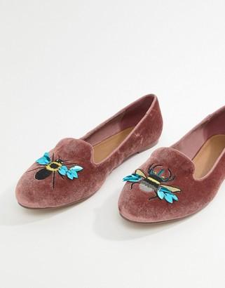 Asos Design DESIGN Luna Bug Embroidered Ballet Flats