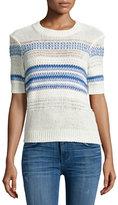 Current/Elliott Linen-Cotton Blend Striped Sweater, Blue Horizon