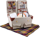 Picnic Time Pioneer Canvas Plaid Picnic Basket For Two