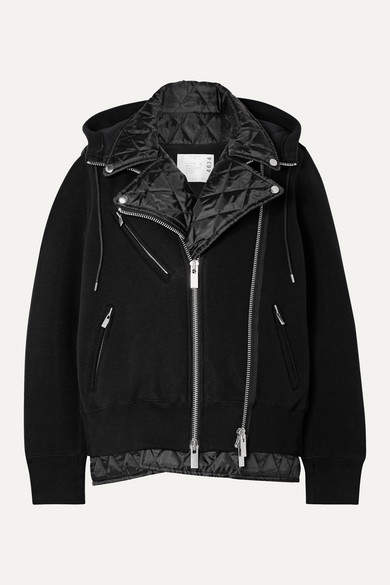 Sacai Hooded Quilted Shell-paneled Cotton-blend Jersey Biker Jacket - Black