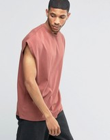 Asos Super Oversized Sleeveless T-Shirt In Heavy Jersey With Tonal Stitching In Red