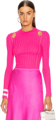 Maggie Marilyn Hole Lot of Loving Sweater in Fluro Pink & Ivory | FWRD