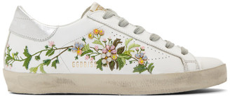 Golden Goose White Flowers Embroidered Superstar Sneakers
