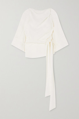 Petar Petrov Cameo Tie-detailed Open-back Silk-seersucker Top - Ivory