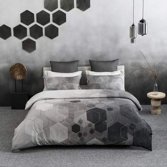 """A1 Home Collections A1HC Hexad Reversible Print 100% Organic Cotton Wrinkle Resistant Duvet Cover and Sham Set of 2 with Internal Ties and Button Closure, 108"""" x 92"""", King, Black/White"""