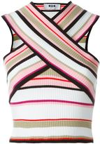 MSGM cross-over ribbed top