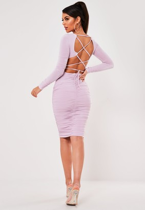 Missguided Lilac Slinky Lace Up Back Ruched Midi Dress