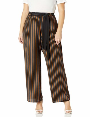 City Chic Women's Apparel Women's Plus Size Wide Legged Pants with Stripped Pattern