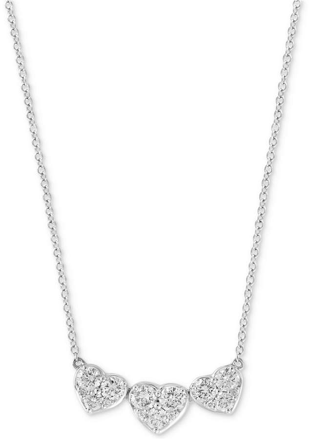 "Effy Diamond Heart Trio 18"" Pendant Necklace (1 ct. t.w.) in 14k White Gold"