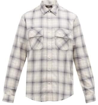 Amiri Leather Logo-applique Cotton-flannel Shirt - Mens - Blue White