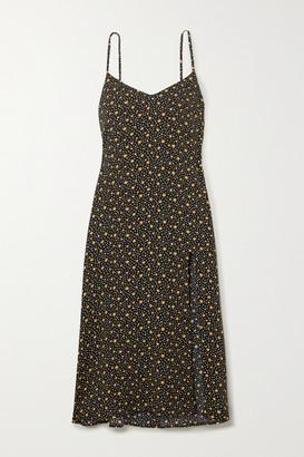 Reformation Crimini Floral-print Crepe Midi Dress - Black
