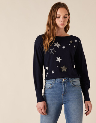 Monsoon Sparkle Star Knit Jumper with Recycled Fabric Blue