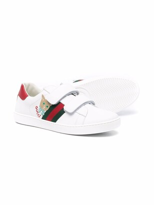 Gucci Children TEEN Ace cat-embroidered leather sneakers