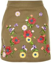 Topshop Floral Embroidered Mini Skirt