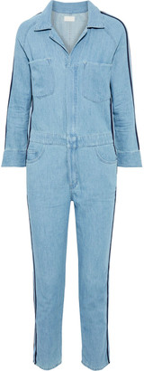 Mother The Zip Riveter Striped Cotton And Linen-blend Chambray Jumpsuit
