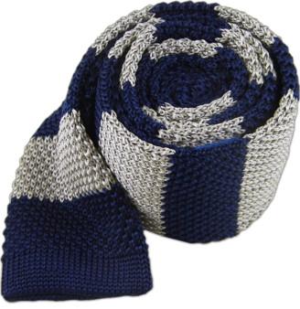 Tie Bar Knit Repp Stripe Silver Tie