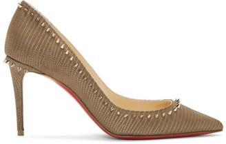 Christian Louboutin Taupe Croc Anjalina 85 Heels