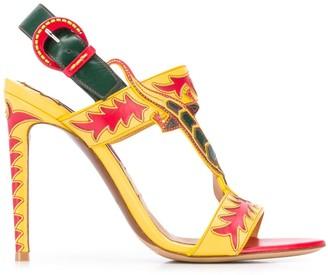 Ralph Lauren lizard strap stiletto sandals