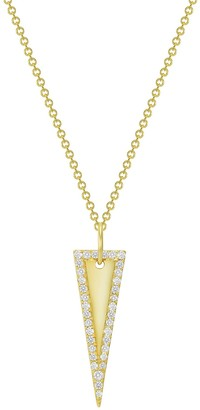 Ron Hami Yellow Gold and Diamond Halo Triangle Pendant Necklace - 0.15 ctw