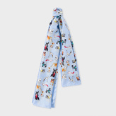 Paul Smith Women's Light Blue 'Dog' Print Silk Scarf