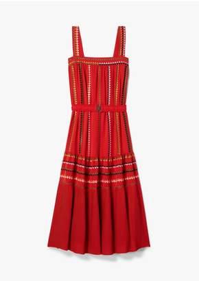 Derek Lam Embroidered Georgette Tank Dress With Pleated Hem