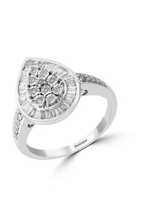 Effy 14K White Gold Diamond Pear-Shaped Ring