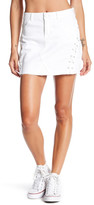 Jolt Lace-Up Raw Edge Denim Skirt