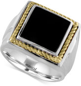 Effy Gento By Onyx Square Ring (1-1/2 ct. t.w.) in 14k Gold and Sterling Silver
