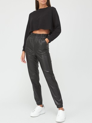 Very Faux Leather Paperbag Waist Joggers - Black