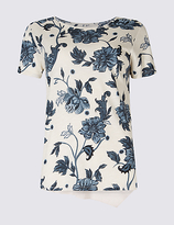 Per Una Cotton Blend Floral Print T-Shirt