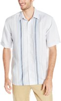 Cubavera Cuba Vera Men's Front Placket Detailing Short Sleeve Woven Shirt
