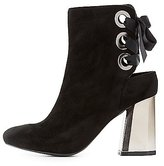 Charlotte Russe Lace-Up Back Mirrored Heel Booties