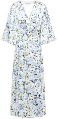 Les Rêveries Pleated Floral-print Silk-satin Midi Dress