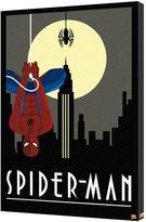 Marvel Spider-Man Art Deco Dark Skyline Moon Spider Hanging Retro Comics Stretched Canvas - 24x36