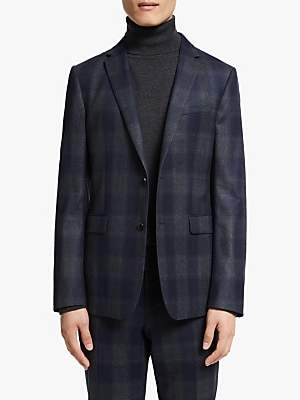 KIN Italian Super 120s Wool Large Check Slim Fit Suit Jacket, Blue
