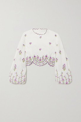 Zimmermann Poppy Cropped Scalloped Embroidered Linen And Ramie Top - Ivory